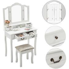 Coiffeuse blanc 4 tiroirs 1 tabouret 3 miroir 1 Table de maquillage
