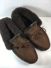 LL Bean Wicked Good Moccasins Leather- Shearling Wool Womens Sz 9  VGC 130484