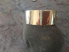 14 KT Yellow & White Gold Shiny Cuff Bangle Bracelet Pave Diamond Estate