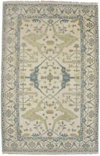 Brand New Muted Gold Blue Gray 5X8 Oushak Chobi Wool Oriental Area Rug Carpet