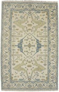 Brand New Muted Gold Blue Gray 5X8 Oushak Chobi Wool Oriental Area Rug Carpet