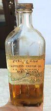 1909 ANTIQUE V RARE WILLIAM ALFRED & SONS CASTOR OIL BOTTLE-ORIGINAL OIL,ENGLAND