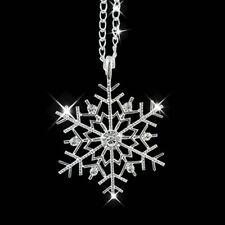 LC_ gelé Flocon de neige brillant strass pendentif chaîne collier cadeau de Noël