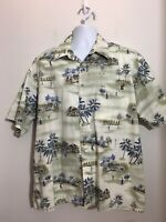 Pierre Cardin Men's Golf Tropical Short Sleeve Button Shirt Size XL Cream Blue