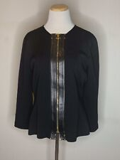 Tom Ford Womens Sweater Jacket Full ZIp Leather Trim Long Sleeve Black 10 / 46