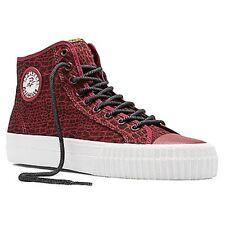 PF FLYERS PM14OH3F CENTER HI ANIMAL Unisex (M) Burgundy Canvas Hi-Top Shoes