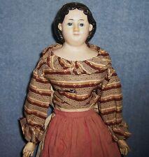 "18"" Antique German Papier Paper Mache Lady Doll~Greiner'S Label~Leather Body"