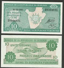 BURUNDI 2005 10 Francs BANKNOTE UNCIRCULATED