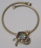 Vintage Jewelry Coro Signed Necklace w/ Flower Slide Rhinestones Goldtone 1960s