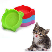 KQ_ Cat Face Pet Bowl Anti Slid Solid Color Dog Puppy Kitten Food Water Feeder N