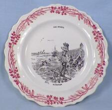 Creil et Montereau Le Sports Plate No. 5 Natation Red Black Antique Faience