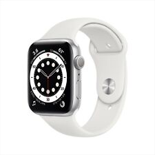 Apple Watch Series 6 44 mm Silver Aluminum Case with White Sport Band (GPS) NEW