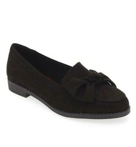 Womens Black Flat Shoes Size 6 Wide Fit Loafer Low Heel Faux Suede Bow Twist NEW