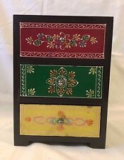 Hand Painted Colorful Vintage Indian Wood Jewelry Box Chest 3 Drawers 10 H 7L5D