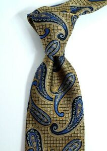 $79 NWT Nordstrom Textured Gold with Blue Paisley Silk Neck Tie