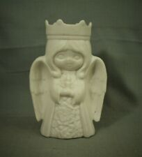 vintage White ceramic Little Girl cherub Angel Candle holder crown 6""
