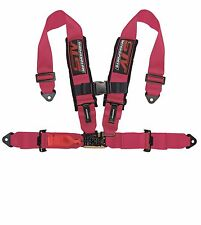 RACING HARNESS SEAT BELT 4 POINT 3 INCHES STRAPS PINK SFI LATCH & LINK
