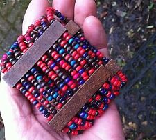 RED BLUE BLACK WOODEN BEAD STRETCH ELASTIC CHUNKY WIDE CUFF HIPPY BOHO BRACELET