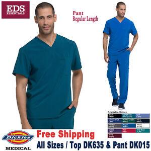 Dickies Scrubs Set EDS ESSENTIALS Men's V-Neck Top & Drawstring Pant DK635/DK015