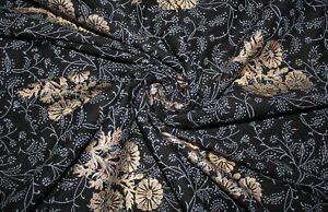 Fabric Cotton 3 Yard Golden Floral Hand Block Pigment Dye Dressmaking Indian