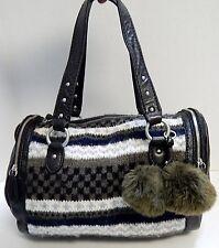 Juicy Couture Leather Knit Pom Pom Satchel Bag