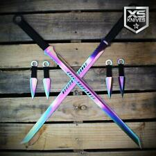 6pc Set of RAINBOW TANTO Blade Ninja Swords with Throwing Knives and SHEATHS