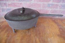 """Antique/Vintage -Cast-Iron-3-legged-Skillet-Pot-Pan 10 1/2"""" wide x 3"""" Deep"""