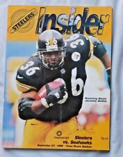 Insider Program Pittsburgh Steelers Vs Seattle Seahawks 9/27/98 Jerome Bettis
