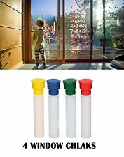 4 LIQUID GLASS WINDOW CHALK MARKERS CHALKS ART PENS WHITE RED YELLOW GREEN BLUE
