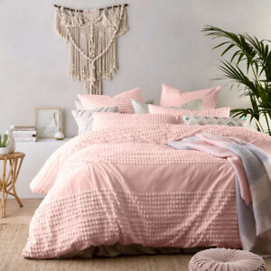 Tufted 100% Washed Cotton Blush Pink Quilt Cover QUEEN KING Doona Duvet Set+Euro