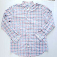 Peter Millar 100% Cotton Mens Button Shirt Blue Pink White Plaid Size Large