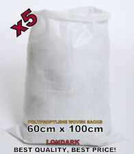 5 Woven POLYPROPYLENE Bags Sacks 60 x 100 PP Rubble Heavy Duty Bags Sandbags