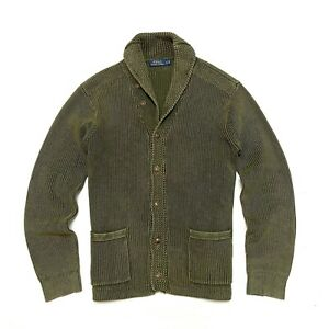 Polo Ralph Lauren L Large Cardigan Shawl Cotton Knit Sweater Olive Army Green RL