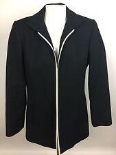 Linda Allard Ellen Tracy Womens Petite Business Jacket Black with White Trim 10P