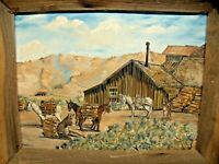 Vintage Oil on Canvas Painting by artist Alice Dumas 1968, (Red Cloud Mine 1870)