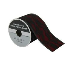 """Red and Black Lace Wired Ribbon - 2.5"""" Wide"""