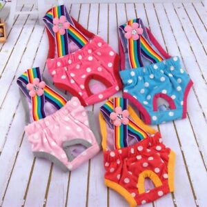 Female Dog Puppy Diaper Pant w/Polka Dots Suspender Physiological Sanitary Panty