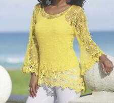 Women's Spring Crochet Cotton Power Flower Sweater &Cami set tunic top plus 1X2X