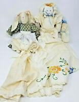 Vintage Set of 4 Handmade Woman Bunny Angel and Baby Fabric Rag Dolls