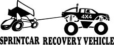 SPRINTCAR RECOVERY VEHICLE DECAL white vinyl SIZE 200MM BY 80MM