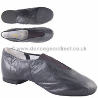 Bloch Black Leather Slip On Dance Shoes Pure Jazz Split Soles Girls Ladies S0461