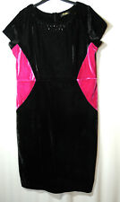 BLACK PINK VELVET LADIES PARTY STRETCH BODYCON DRESS SIZE 16 CHANGES BY TOGETHER