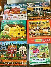 5 VINTAGE Charles Wysocki's Americana 1000 pc Puzzles CHARLES WYSOCKI PUZZLES