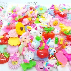 50Pcs/Bag Mix Cartoon Charms Rabbit/Cat/Unicorn/Cake Nail Charms Nail Art Decors
