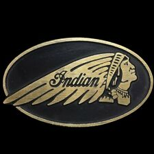 Vtg 80s Indian Motocycle Laughing Chief Rare Motorcycle Biker Brass Belt Buckle