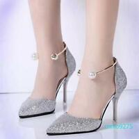 Womens Elegant Formal Dress Shoes Pointy Toe High Heels vervel Shiny Party Shoes