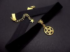 Una señoras de terciopelo negro y oro color Pentagrama Pentangle Gargantilla Collar.