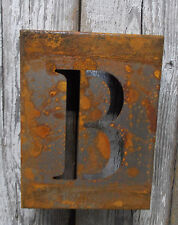 """LETTER """"B"""" RUSTY FINISH 8"""" LASER CUT METAL BLOCK LETTER RUSTIC DECOR RUSTED SIGN"""
