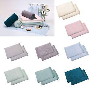 500GSM Twin Pack Jacquard Velour Egyptian Cotton Bath Towels 70x140cm