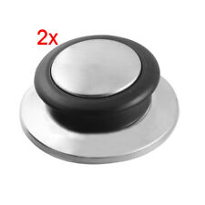 Utensili da cucina coperchio manopola   pentola bollitore nero tono argento V1E8